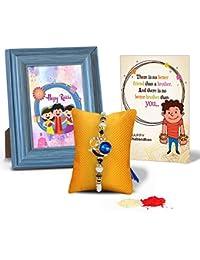 Tied Ribbons Rakhi Gift Hamper For Brother (Designer Rakhi, Rakshabandhan Special Quoted Frame, Card, Roli Chawal)