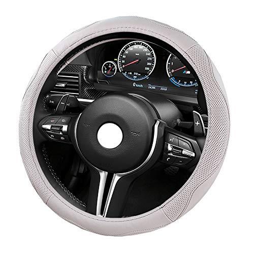 Coprivolante auto in pelle microfibra antiscivolo universale 15'/ 38 cm Accessorio automobilistico (Color : Black red)