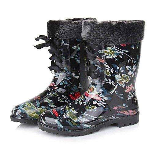 moda floreale Ms. stivali da pioggia black flowers