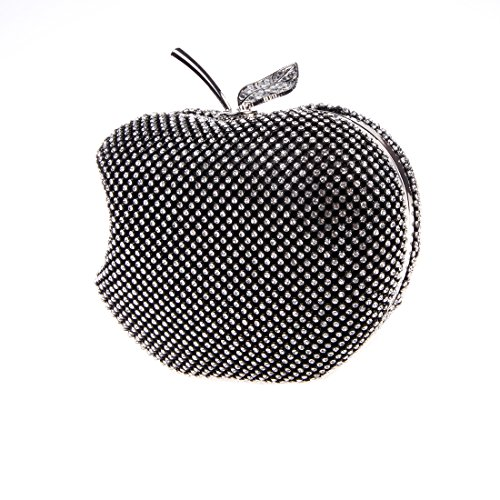Bonjanvye Apple Shaped Bag with Studded Crystal Rhinestone for Girls Silver Black