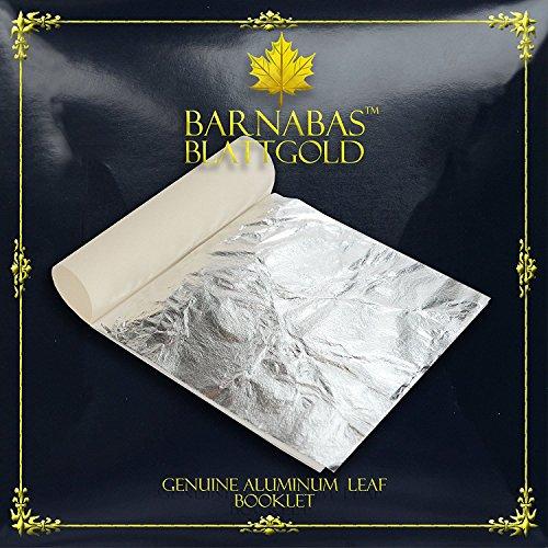 Barnabas Silberimitat Blatt (Aluminium), 14 X 14cm, Booklet der 25 Blätter -