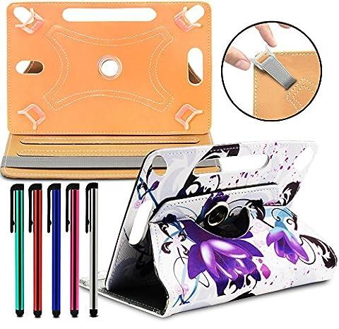 LOLO® - Asus Memo Pad HD 7 Tablet PC 360 Grad Rotation Universal PU Leder Hülle Abdeckung Ständer Tasche Beutel (Tablet Case - Cover- Folio) - Konstrukteur Violette Blumen