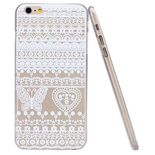 For iPhone 6 Plus / 6S Plus Hülle, Ouneed elegante ultra dünne weiße Blume Blumen transparentem Kunststoff Hard Case Hülle (E) A