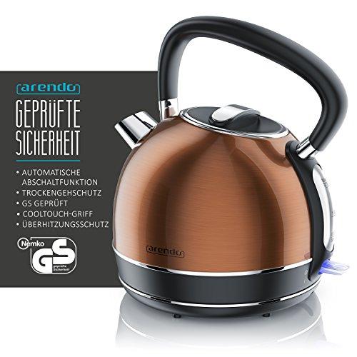 Arendo – Vintage Edelstahl Wasserkocher/Teekessel Retro Style | max. 2200W | Herausnehmbarer/austauschbarer Kalkfilter | Füllmenge max. 1,7 Liter | automatische Abschaltung | Kupfer-Design
