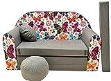 PRO COSMO A33Kinder Sofa Bett mit Puff/Fußbank/Kissen, Stoff, Mehrfarbig, 168x 98x 60cm