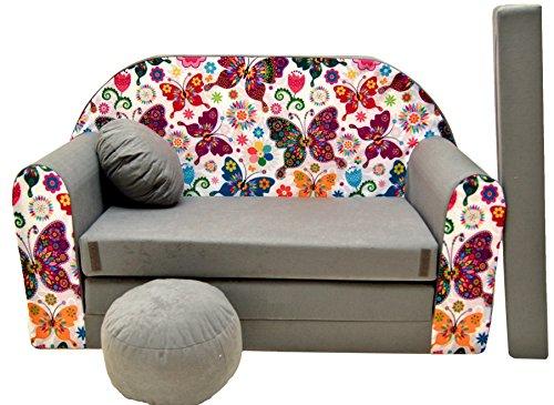 Pro cosmo a33divano letto con pouf/poggiapiedi/cuscino, in tessuto, 168x 98x 60cm, per bambini
