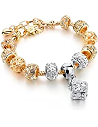 Hot And Bold Gold Plated Pandora Inspired Lucky Dice Charms DIY Bracelet For Women/Girls.Daily/Party Wear Fashion...