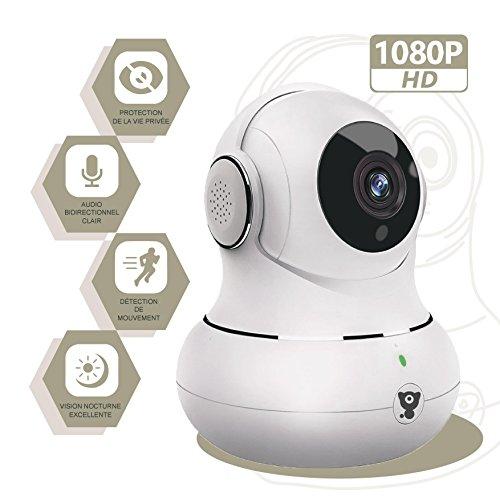 Littlelf IP-Kamera 1080p Full HD, Drahtlose Fernüberwachung 350° Panorama und 105° Neigung durch Anwendungen gesteuert, Eingangs- und Überwachungskamera CCTV Cam, 3D Panoramakamera, Fernüberwachung für Babys und Tiere - Weiß