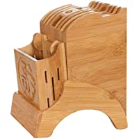 Multifonctionnel Support de Rangement de Cuisine - Bloc de Couteaux de Cuisine en Bambou Porte-Couteaux avec Support…