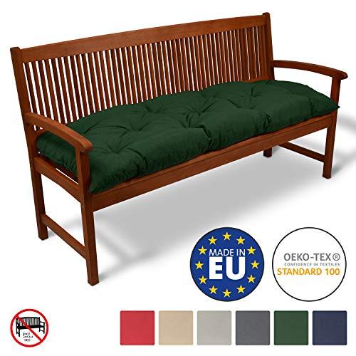 Beautissu Bankauflage Flair BK ca. 150x50 cm Bequeme Polster Garten-Bank Auflage Sitzauflage Bank in Dunkelgrün erhältlich
