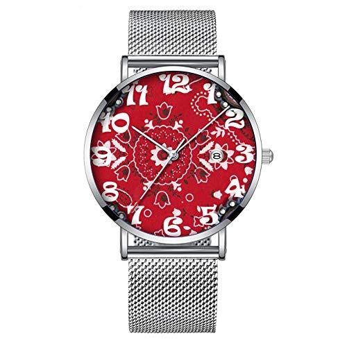 Minimalistische Mode Quarz-Armbanduhr Elite Ultra Thin Wasserdichte Sportuhr mit Datum mit Mesh-Band 435. Western Bandana und Leder Verschönerung Print
