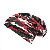 LEIF NELSON Unisex Slouch Beanie Mütze Longbeanie Caps Ganzjahresmütze leicht und weich Jungs Herren und Damen LN8100, Camouflage Rot 2Y