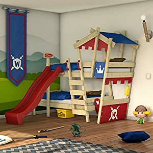 wickey etagenbett crazy castle doppel kinderbett 90x200 hochbett mit rutsche treppe dach und. Black Bedroom Furniture Sets. Home Design Ideas