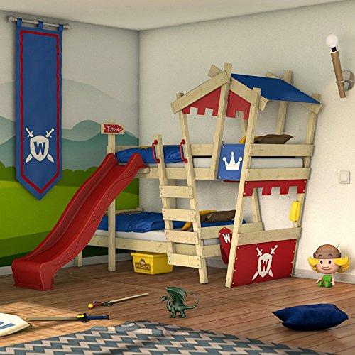 WICKEY Etagenbett CrAzY Castle Doppel-Kinderbett 90x200 Hochbett mit Rutsche, Treppe, Dach und Lattenboden, rot-blau + rote Rutsche