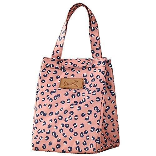Rieovo pranzo portatile termica di raffreddamento, contenitori per alimenti isolato Carry Bag viaggi picnic borsa pink leopard