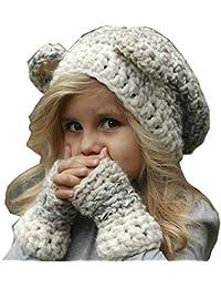 d3aa9e8c5bd5b Yukeyy Set De Gorro y Guantes para Niños de 2 a 8 años Sombrero de Punto