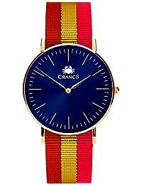 Reloj Crancs - Reloj con esfera azul con correa de nylon con la bandera de España