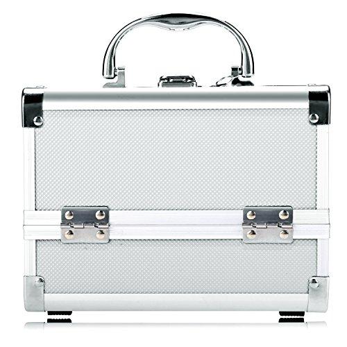 Beauty Case Silber (Homdox Aluminium Kosmetikkoffer Schminkkoffer Kosmetic Makeup Storage Beauty Case 20 x 15.5 x 15.5 cm Silber (innen Schwarz))