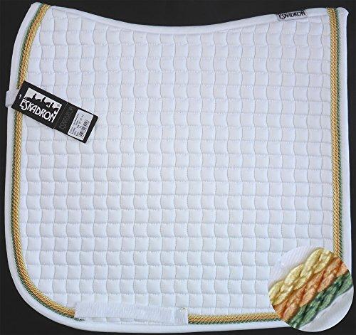 ESKADRON Cotton Schabracke weiß, 3fach Kordel lind,orange,yellow, Form:Dressur