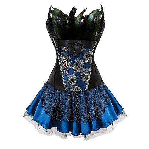 Korsett Das Schwarze Kleid Tutu Kostüm - Vollbrust Feder Korsett Kleid Rock Tutu Corsagenkleid Corsage Stickerei Kostüme Pfau Pattern Damen Burlesque Schwarz Blau M