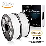 SUNLU PLA 3D Printer Filament, PLA Filament 1.75 mm, 3D Printing filament Low Odor Dimensional Accuracy +/- 0.02 mm, 4.4 LBS (2KG), White+White