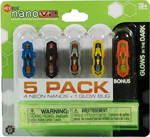 HEXBUG Neon Nano V2 + 1 Glow in the Dark Bugs (5-Pack) by Hexbug
