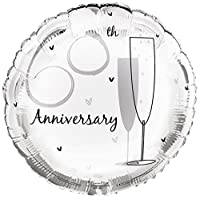 """Cards Galore Online Round 18"""" 60th Anniversary Foil Helium Balloon (Not Inflated) - Diamond Flutes"""