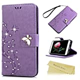 Mavis's Diary P8 Lite 2017 Case ,Huawei P8 Lite Case 2017 Model - Glitter Gems Diamonds Crystal Butterfly Wallet PU Leather Flip Cover [Chic Flower Embossed] Silicone Back Holder Case Magnetic Closure Card Slots & Stand & Wrist Strap - Violet (Not for 2015 Model)