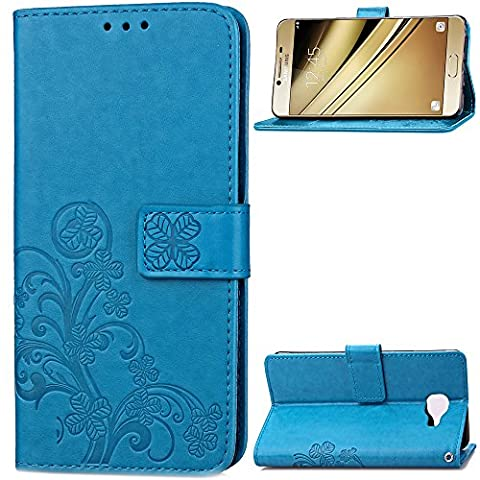 Samsung Galaxy C5 Case Leather, Ecoway Clover embossed Patterned PU Leather Stand Function Protective Cases Covers with Card Slot Holder Wallet Book Design Folio Magnetic Flip Stand Feature for Samsung Galaxy C5 - Four Leaf