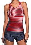 CROSS1946 Damen Bademode Streifen Muster Tankini Bikini-Sets Rot XX-Large