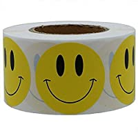 Mumustar Emoji Smile Stickers, 1 Roll 100Pcs Adhesive Stickers Funny Yellow Smiley Expression Reward Sticker Labels Kids Party Games Work Supply