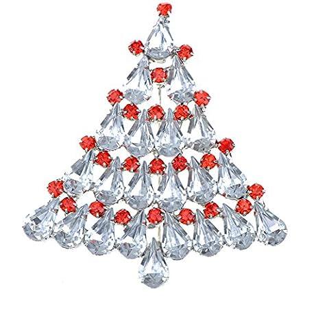 Damen Herren Extra Sparkly groß 6cm mit Kristall Weihnachten Revers Brosche Rot Gardland