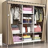Armadio GX Multifunzione Simple Double People Guardaroba, Modern Minimalist Rental Room Dormitorio Economico Antipolvere in Acciaio Tubo Bold Storage Cabinet (Colore : Brown)
