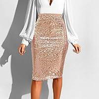 Minifalda Mujer,Cintura Alta Color Sólido Sequin Faldas,Estiramiento De Cadera Paquete Sexy Falda Caqui,Oficina De Moda Falda,Cremallera Suave Adecuado Para Compras Ocasionales Asistir A Banquetes,X