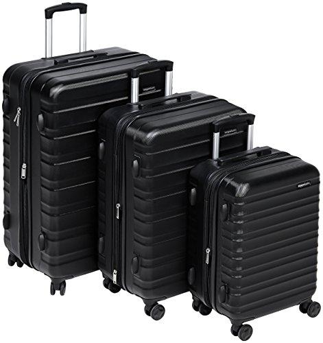 Amazonbasics - set di trolley rigidi con rotelle girevoli, set da 3 pezzi (55 cm, 68 cm, 78 cm), nero