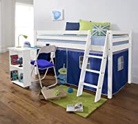 Noa and Nani Cabin Bed with Desk in BLUE, WHITE Bed with Tent BLUE WG