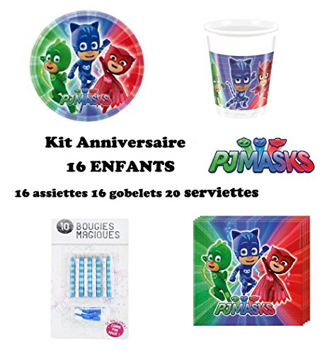 Kit PJ MASKS Pyjamasques 52 pièces Anniversaire Fête 16 enfants (16 gobelets, 16 assiettes et 20 serviettes) 10 bougies offertes