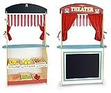 Marché Et Théâtre De Bois Produits Alimentaires En Bois Jouet 2 In 1 Marchande - Jeu D'Imitation Théâtre De Marionnettes En Bois Théâtre Et Marchande En Un