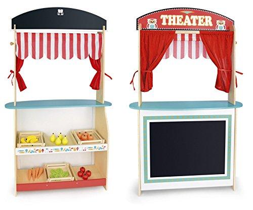 Spielzeug 2 in 1 Puppentheater und Supermarkt Aus Holz Hölzernes Spielzeug Show Spaß Im Laden  Puppentheater mit Bühne und Vorhang, Leichter Aufbau