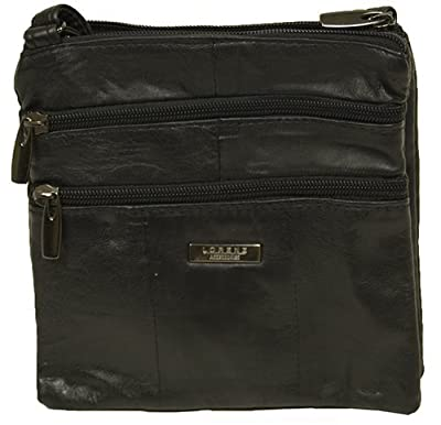 Lorenz Ladies Small Genuine Soft Leather Cross Body / Shoulder Bag (1) # 1941 - Black