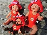Puppenkleidung handmade Badeanzug + Hut für Baby Puppen oder Monchichi Gr. 20 cm - 48 cm Badeset...
