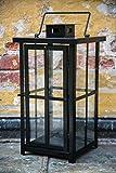 Schwarze schwere stabile Laterne H: 45cm Windlicht Stalllaterne Metalllaterne