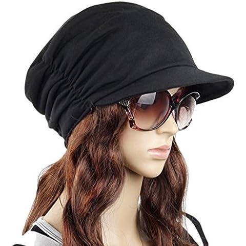Liying–Mujer Fashion de visera plana visera visera sombrero Skullies Beanies gorro playa azul marino Yate Sailor plana superior para sombrero de Safari sombrero, mujer, color negro, tamaño talla única