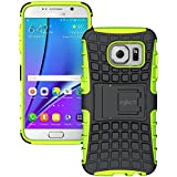 Galaxy S7 Edge Case - Exact [TANK Series] - Shock Proof Tough Rugged Dual-Layer Case with Built-in Kickstand for Samsung Galaxy S7 Edge (2016) Black/Green