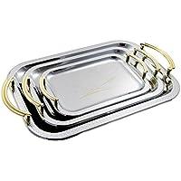 Teiera/Caffettiera in acciaio inox da vassoio argento vassoio Set di 3piatti 3