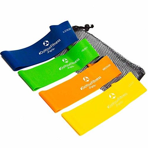 4er-Set Fitnessbänder inklusive Tragetasche »Paris«, 100{bfe1c4d3a3d1d61689d3822b6b66df09c79aec06f30a7cdbf93336ccc79a324d} Latex Loop-Band für Fitness, Reha und Physiotherapie, in 4 Zugstärken. Geschlossenes Trainingsband / Umfang von 50cm und Breite zirka 5cm ideal für Muskelaufbau. Ideales Trainingsband, Gymnastikband, Übungsband und Widerstandsband.