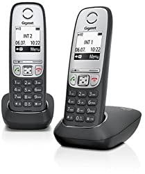 Gigaset A415 Duo Telefon - Schnurlostelefon / 2 Mobilteile mit Grafik Display - Dect-Telefon mit Freisprechfunktion - Analog Telefon - Schwarz