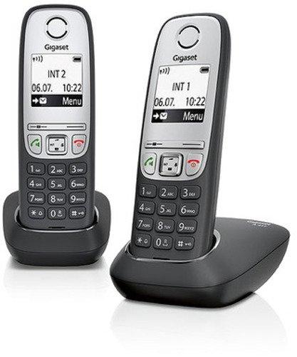 Gigaset A415 Duo 2 schnurlose Telefone ohne Anrufbeantworter (einfaches DECT Telefon mit Freisprechfunktion - Grafik Display und leichter Bedienung) schwarz