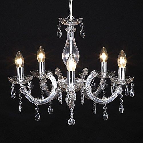 """MiniSun - lampadario moderno ma vintage, cromato e trasparente con 5 bracci - nello stile """"shabby chic"""" e stile Marie Therese"""
