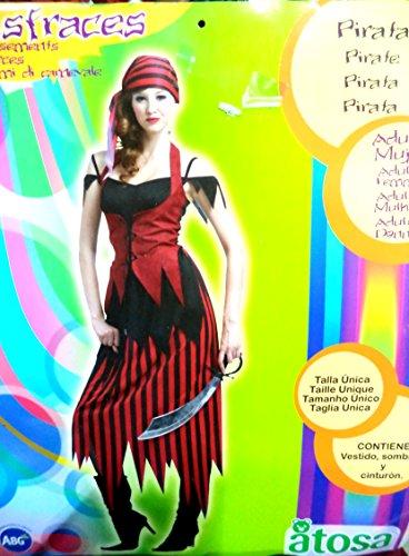Disfraz de Pirata rojo y negro para mujer. Talla única. Incluye Vestido, Pañuelo y Cuerda/Cinturón.